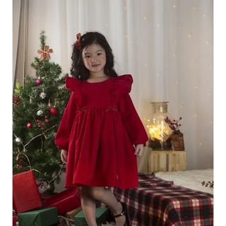 Váy nhung đỏ Lamm váy đỏ bèo vai nơ hai bên cho bé gái diện Giáng sinh và Tết