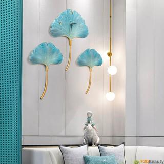 Đồng hồ treo tường lá Ginko Platinum (3 Bức) - F20Beauty - Phong cách hiện đại