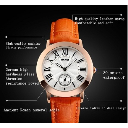 Đồng hồ nữ Skmei mặt tròn màu cam