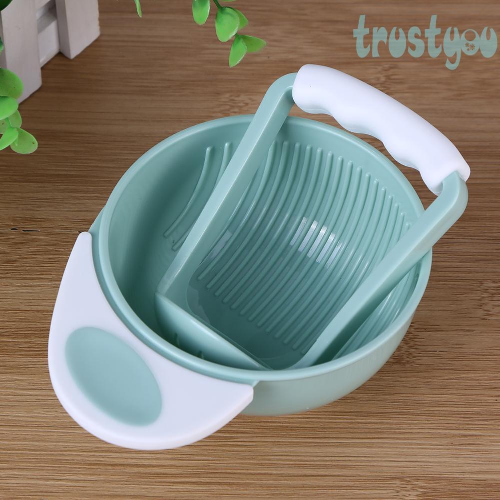 ➤Baby Grinding Set ↗trustyou Manual Food Grinder Bowl Rod Infant Fruit Cool Mills Toolω