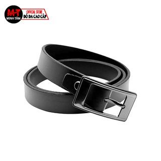 Thắt lưng nữ Minh Tâm da bò 100% , khóa kim lật 2,5cm MT723 , đen or nâu