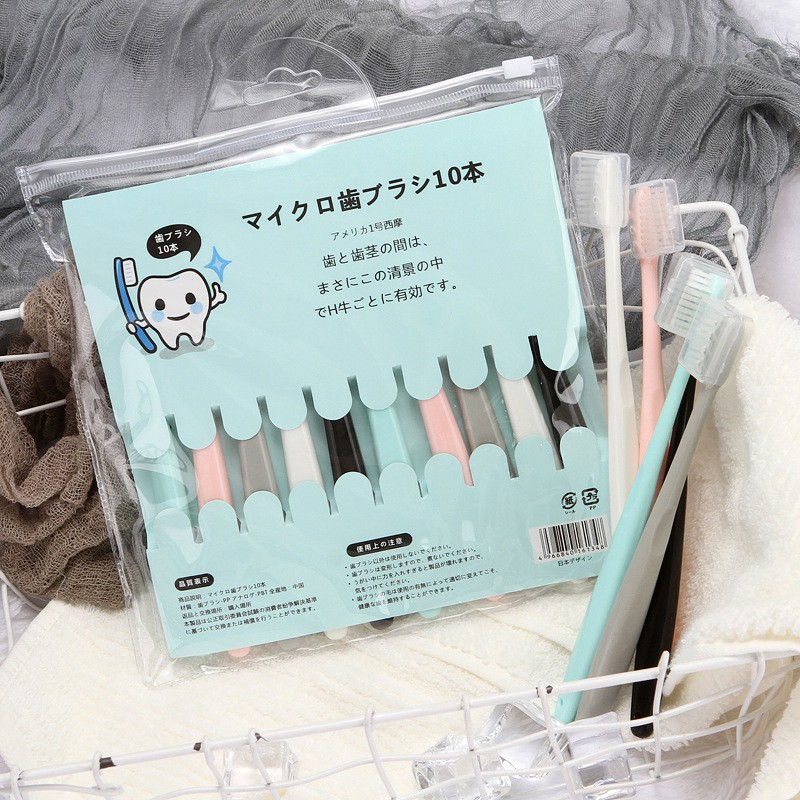 Set 10 Bàn Chải Đánh Răng Hàn Quốc Có Nắp Đựng Kèm Túi Zip L032