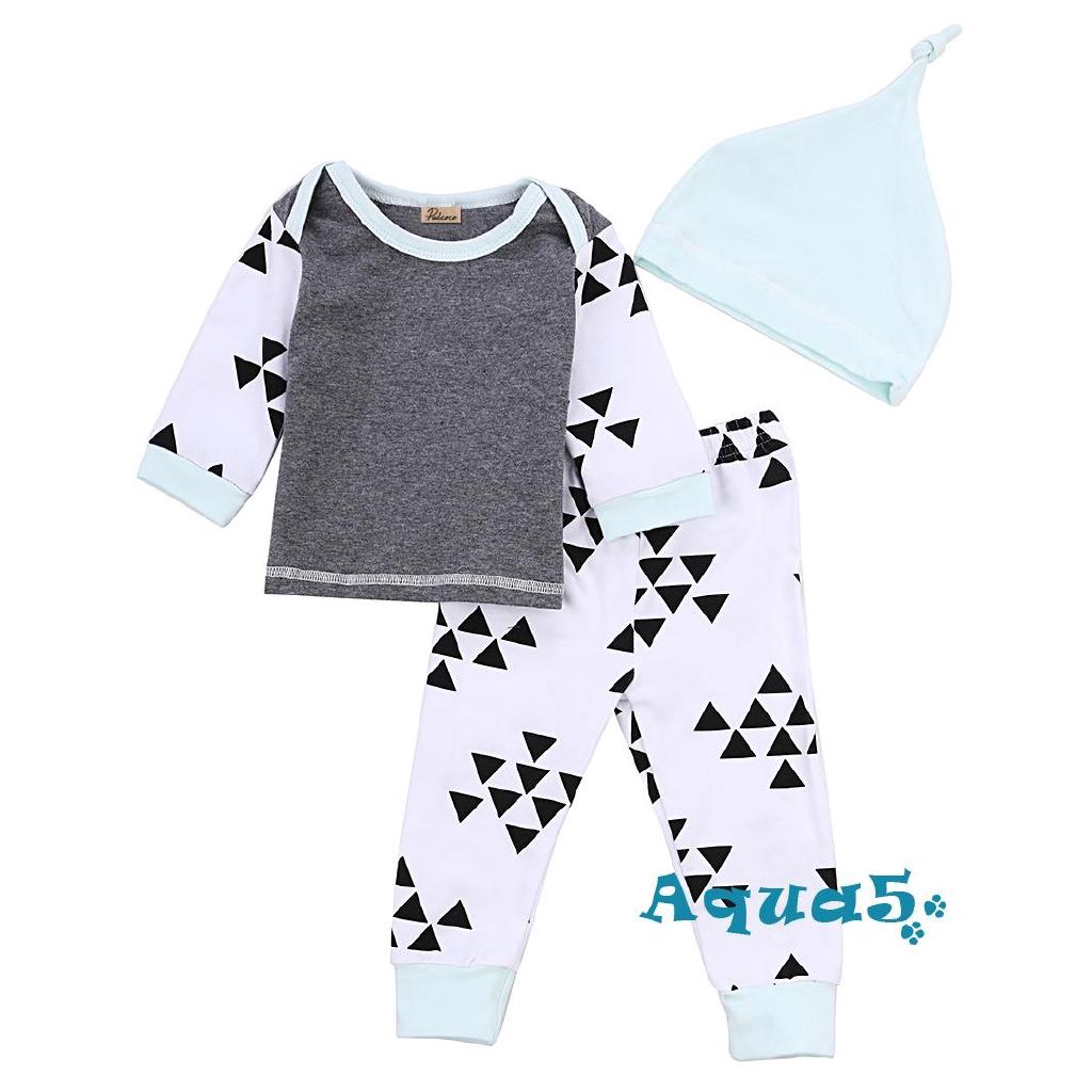 ✿ℛNewborn Infant Baby Boys Girls Tops T-shirt+ Long Pants Hat 3pcs Outfits