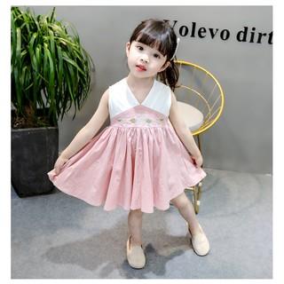 Đầm dài không tay họa tiết hoa phong cách Trung Hoa cho bé gái