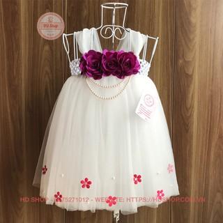 Đầm tutu cho bé ❤️FREESHIP❤️ Đầm tutu trắng hoa cẩm nhí hồng cho bé gái