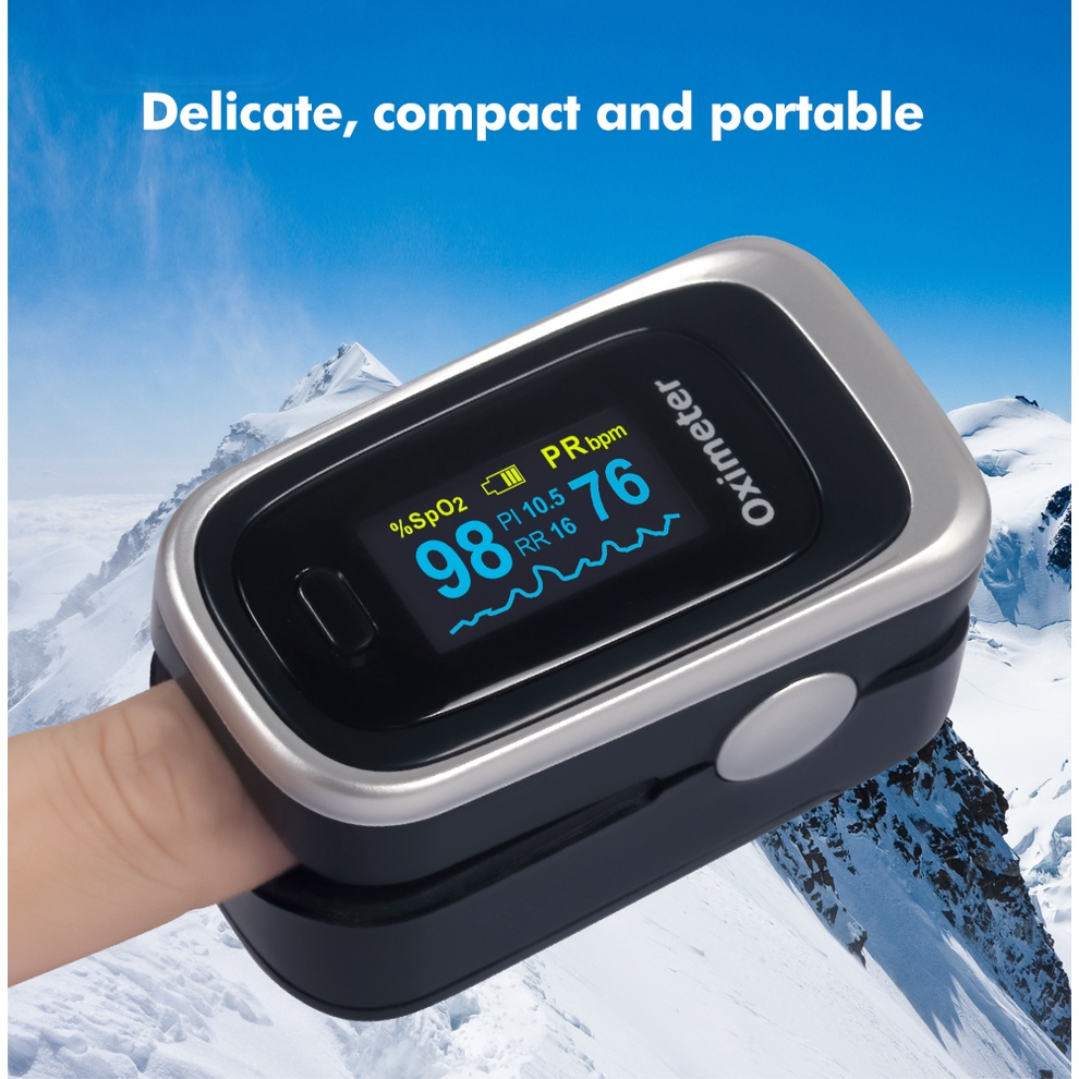 Oximeter Blood Oxygen Saturation Pulse Rate Monitoring-Máy đo lượng oxy trong máu Finger Pulse Oximeter Finger Clip Heartbeat Pulse Oximeter Portable Heart Rate ZANKER