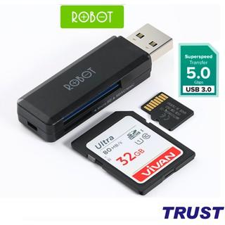 Thiết Bị Đọc Thẻ Nhớ ROBOT CR102 Chuẩn USB 3.0 Tốc độ truyền tải nhanh khe cắm thẻ nhớ SD/MicroSD - Hàng Chính Hãng