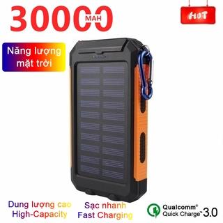Pin sạc dự phòng 30000mAh năng lượng mặt trời, dung lượng cao di động Sạc không thấm nước, với đèn LED Power bank