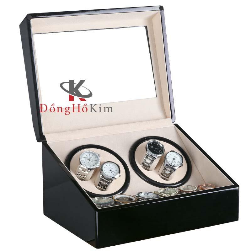 Hộp đựng đồng hồ cơ 4 XOAY + 6 TRƯNG BÀY bằng gỗ màu đen, hộp đựng đồng hồ automatic bọc nỉ bên trong