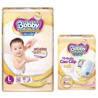 Tã quần bobby extra soft dry m64 l56 xl50 xxl44 tặng khung long