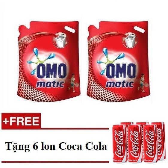 [QUÀ] Bộ 2 túi nước giặt Omo Matic máy giặt cửa trên 2.7kg (MSP 67225293 x2) + Tặng 1 loc 6lon coca