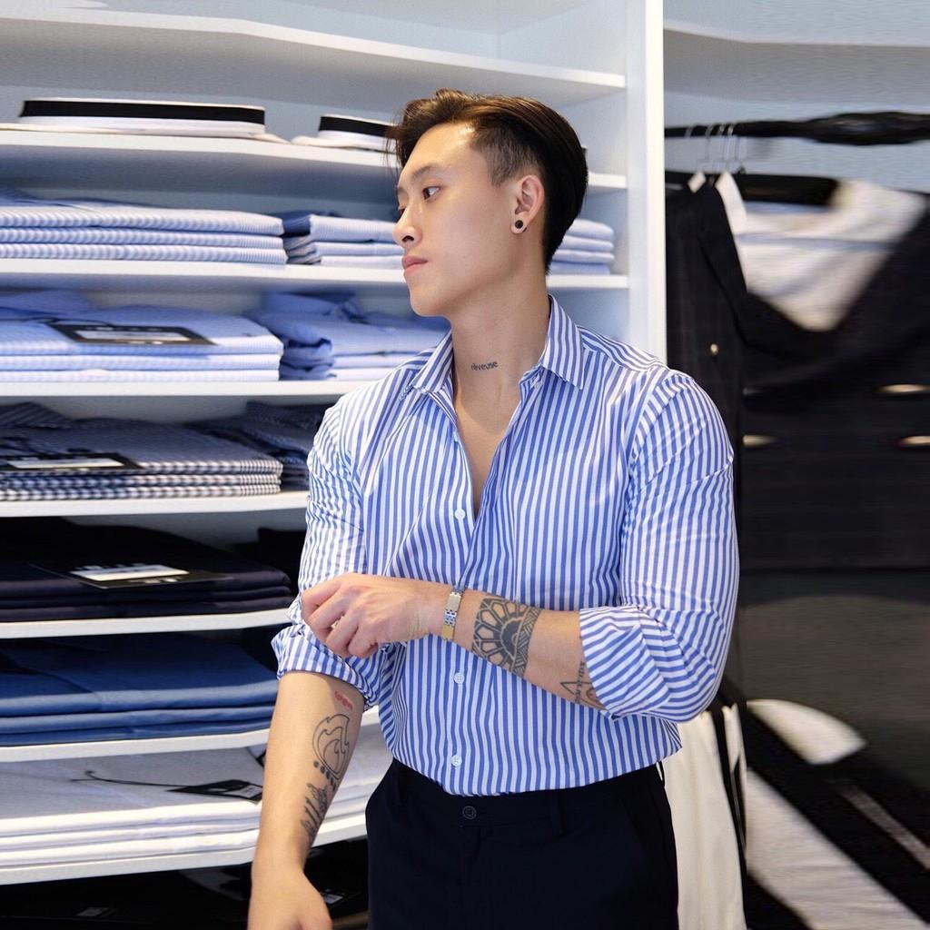 Áo Sơ Mi Nam Cotton Lụa Kẻ Lịch Lãm - Áo Sơ Mi Nam Dài Tay