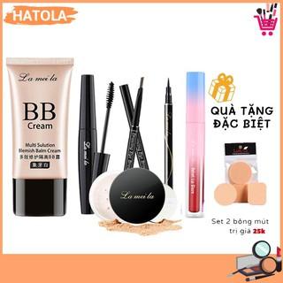 Bộ trang điểm Lameila 6 món cơ bản kem nền, phấn phủ, son kem, mascara, kẻ mày, kẻ mắt bộ makeup tiện lợi HATOLA