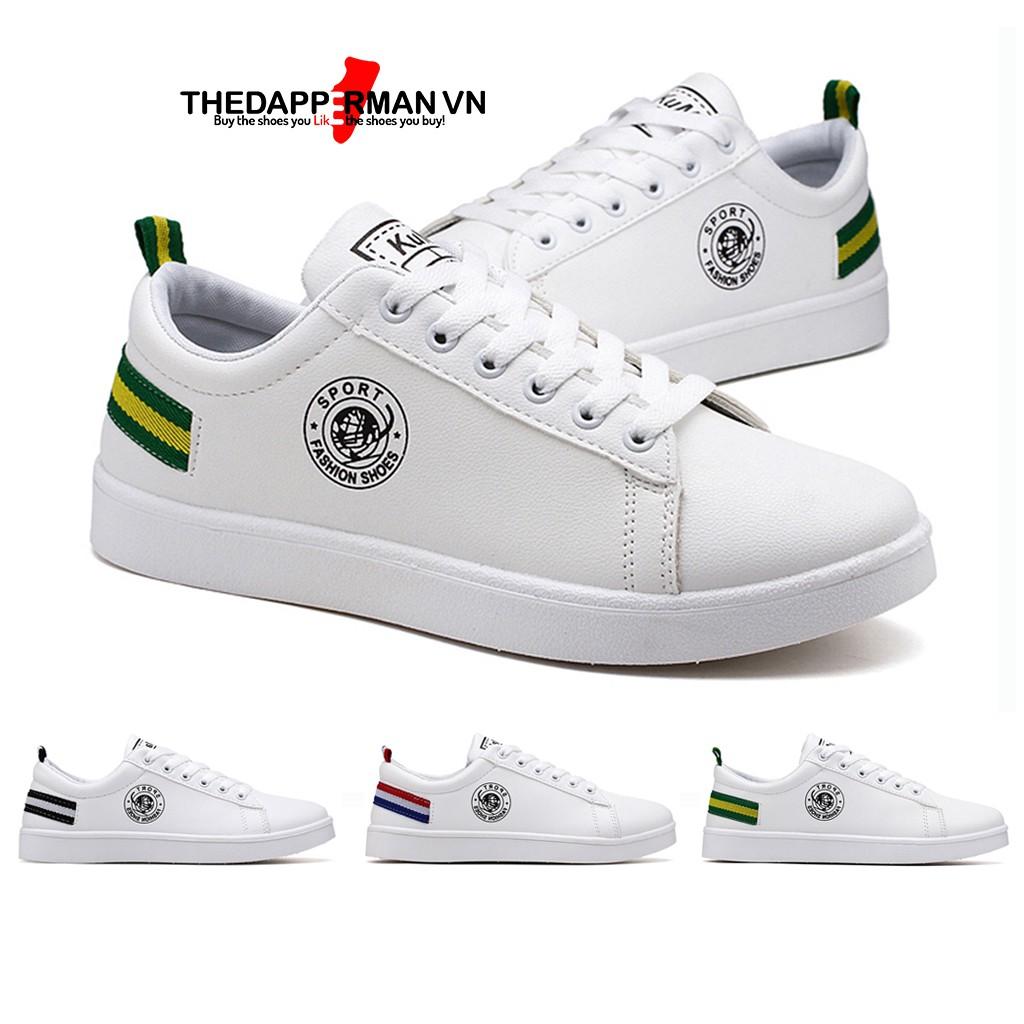 Giày sneaker thể thao nam THEDAPPERMAN TDM7635 chất liệu da, đế cao su nhiệt,siêu êm,phù hợp chạy bộ,màu trắng gót xanh