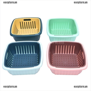 EASTN Kitchen Colander Filter Leachate Basket Multi-function Double Layer Household