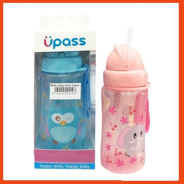 Bình uống nước có ống hút silicon mềm Upass cho bé trai, bé gái - [Hình