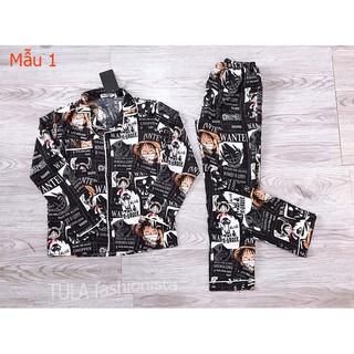 Bộ đồ sơ mi lụa One Piece, Bộ đồ pijama dài tay chất lụa phù hợp cả nam và nữ
