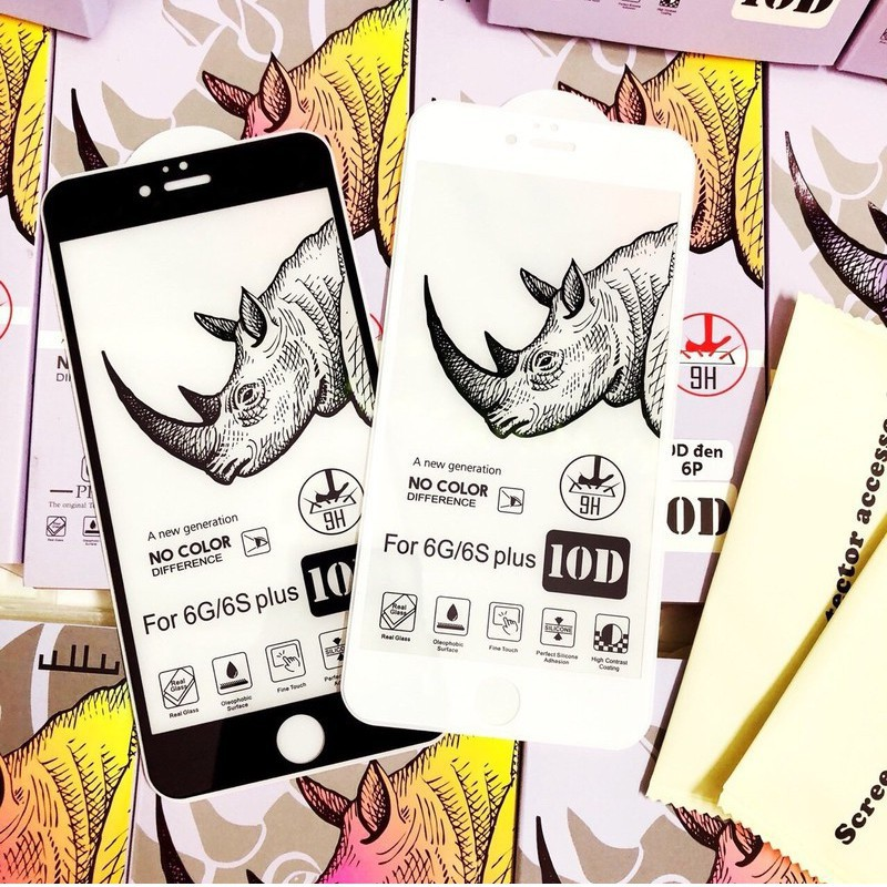 [Mã ELMTPK hoàn 20K Xu đơn 300K] [FREESHIP 50K] Kính cường lực 10D Tê Giác Full Màn cho Iphone