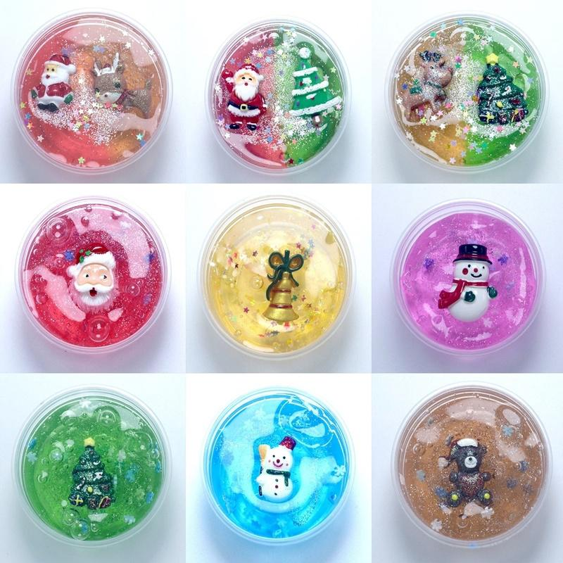 Christmas Crystal Mud Decompression Toy Santa Plasticine for Kids Gift SM08-462