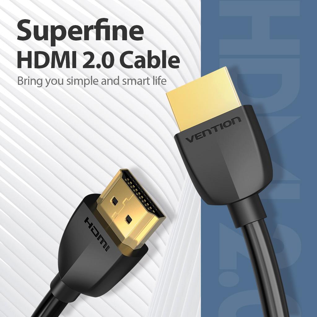 Dây cáp HDMI 2.0 VENTION siêu mỏng hỗ trợ 4K 60Hz 3D đầu mạ vàng cho Apple/ TV/ máy chiếu/ PS4