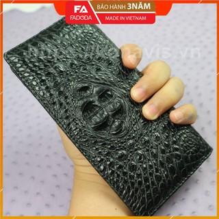 Ví dài cầm tay Fadoda làm từ da gù cá sấu màu nâu sang trọng thiết kế 3 ngăn rộng đựng đồ - FCW10-01G thumbnail