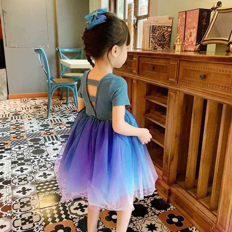 Đầm công chúa tay ngắn dễ thương thời trang cho bé gái