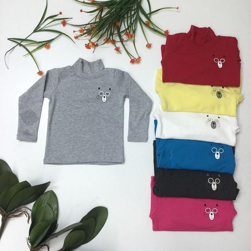 Áo Cotton len trơn đầy dặn cổ cao cho bé trai và bé gái từ 1 tới 7 tuồi