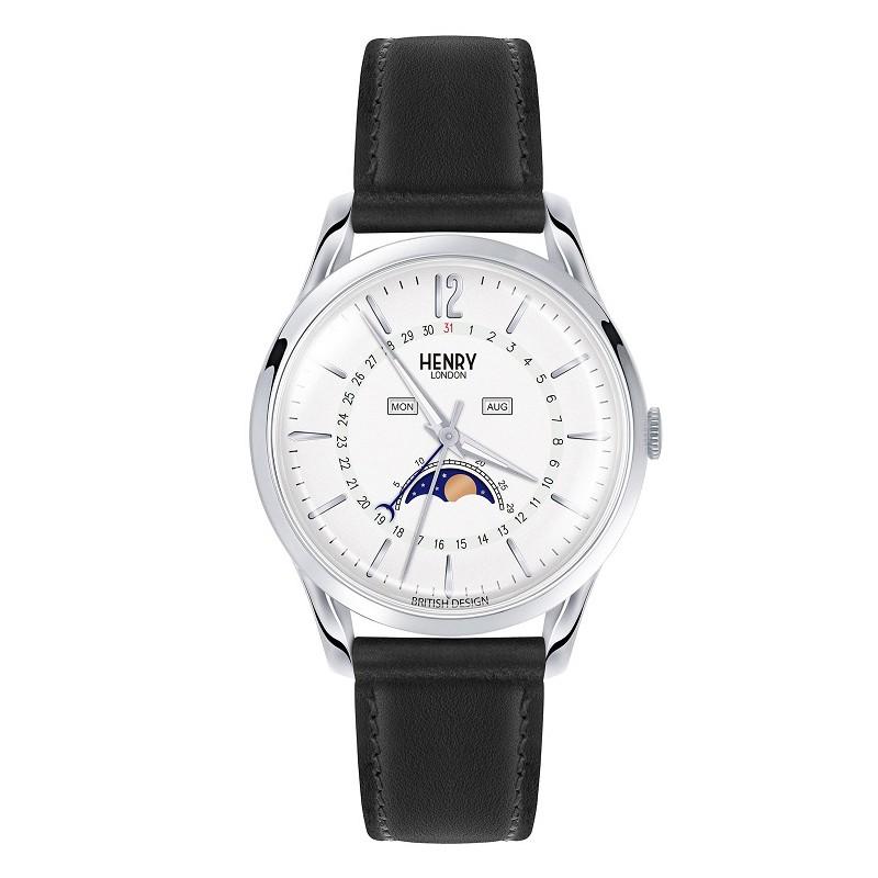 Đồng hồ nam Henry London HL39-LS dây da lịch mặt trăng nhiều màu