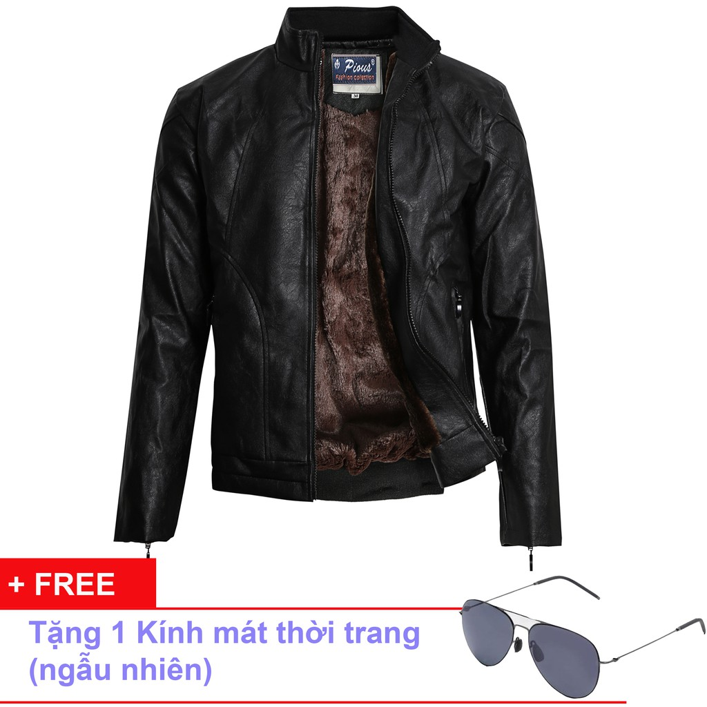 Áo Khoác Da Lót Lông Nam Thời Trang Cao Cấp Pious AD021K + Tặng Kèm Kính