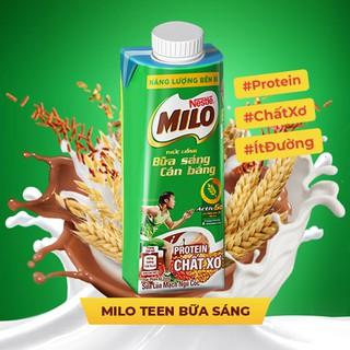 Hình ảnh [Mua 12 tặng 12] Thùng 24 hộp sữa lúa mạch ngũ cốc Nestlé MILO teen bữa sáng ít đường 200 ml/hộp-4