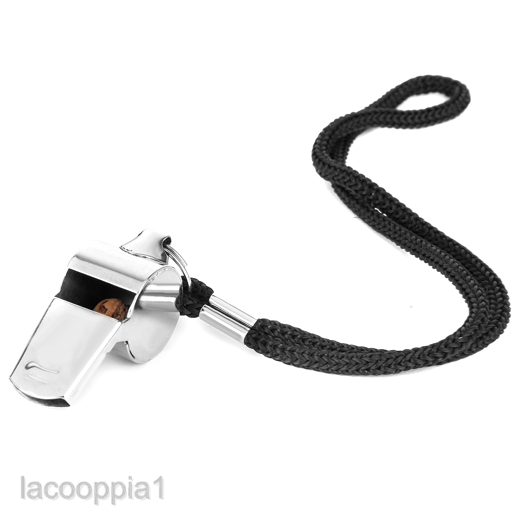 Outdoor Sports Football Rugby Hockey Referee Metal Whistle w Neck/Wrist Cord