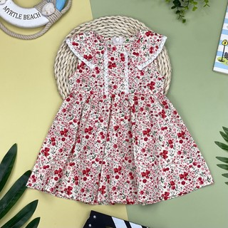 Váy thô hoa sát nách có cổ viền ren. Thương hiệu Litibaby. Chất thô hàn mát, mặt vải đanh, hoạ tiết sắc nét. Size 6-10.