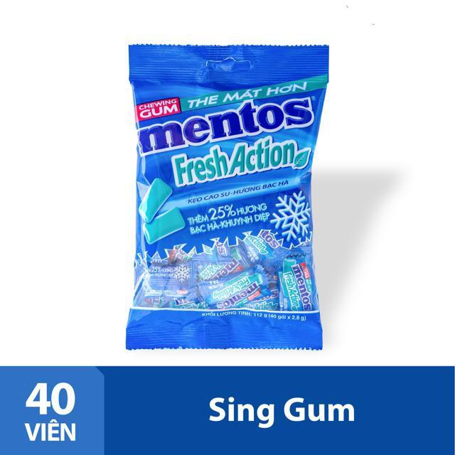 Sing gum Mentos Fresh Action hương bạc hà mạnh gói 40 viên