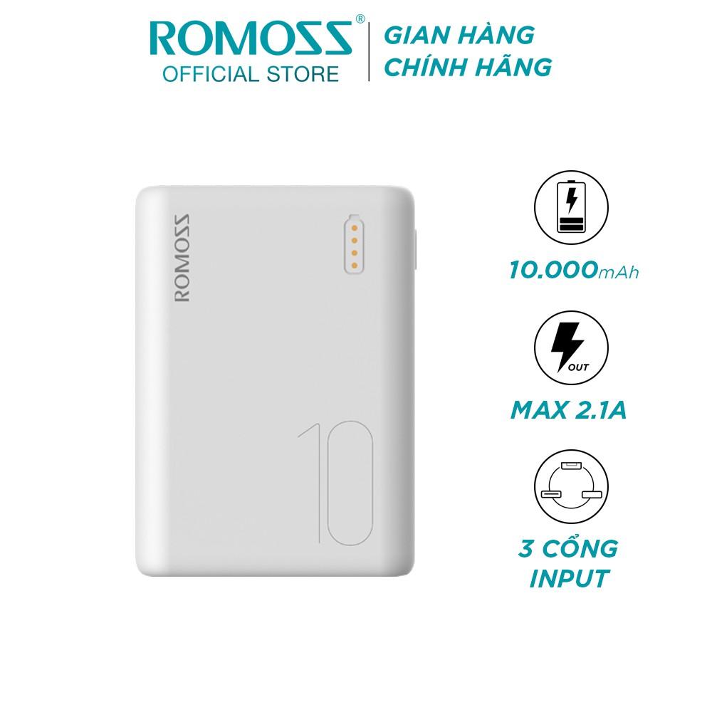 Pin sạc dự phòng Romoss Simple 10 10000mAh nhỏ gọn 3 cổng input Micro- Lightning-TypeC