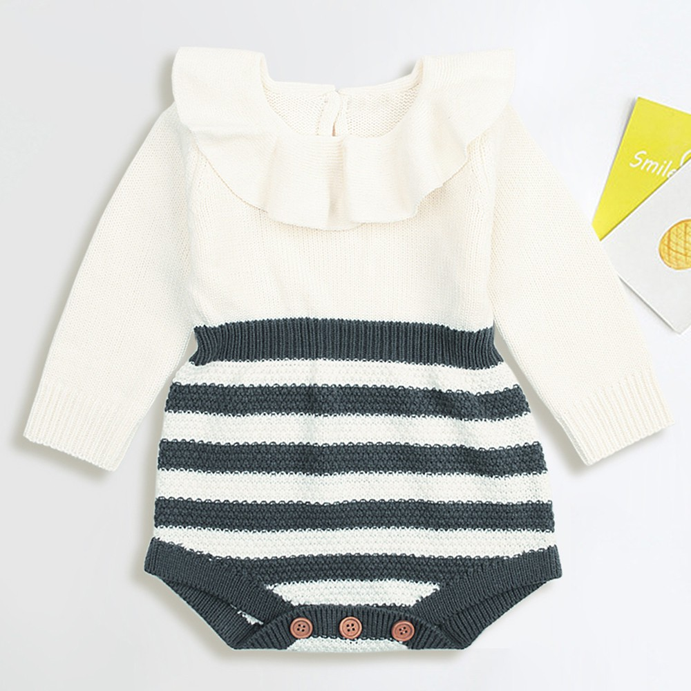 Newborn Infant Baby Boy Girl Weave Romper Knitted Jumpsuit Outfits Clothes