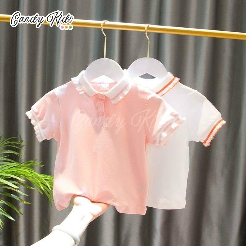 Áo thun Polo ngắn tay thời trang bé gái dễ thương
