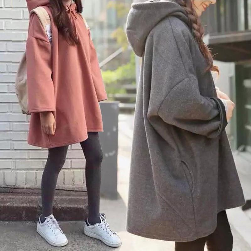 Áo hoodie form rộng kiểu dáng trẻ trung dễ thương dành cho nữ