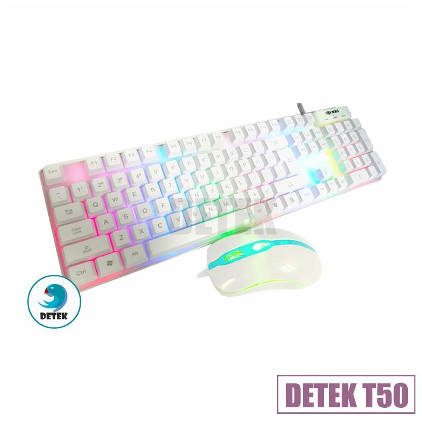 Combo Bàn phím giả cơ và chuột game thủ Detek T50 LED
