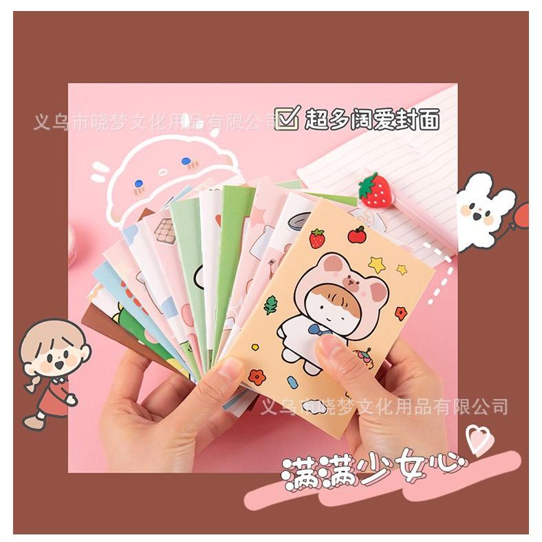 Lyanwn Vở nhỏ học tập dễ thương,sổ tay ghi chép 32 Trang Bỏ Túi Tiện Lợi văn phòng phẩm phong cách Hàn Quộc hoạt hình
