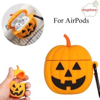Daphne Vỏ Bảo Vệ Hộp Sạc Tai Nghe Airpods Bằng Silicon Họa Tiết Bí Ngô Halloween 3D Độc Đáo Chống Sốc / Trượt