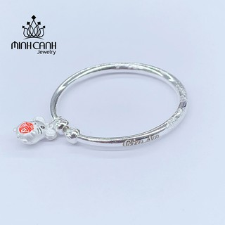 Kiềng Bạc Chạm Họa Tiết Khắc Tên Bé Mix Charm 12 Con Giáp - Minh Canh Jewelry
