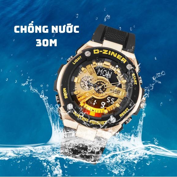 Đồng Hồ Nam Điện Tử Chính Hãng D-ZINER DZ8237 Chống Nước 30M Dây Cao Su - LINDO
