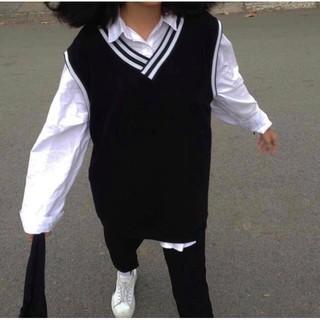 Áo gile unisex form rộng nam nữ đen viền sọc