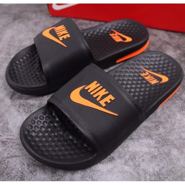 Dép Đúc Nike Thể Thao Màu Đen Logo Cam
