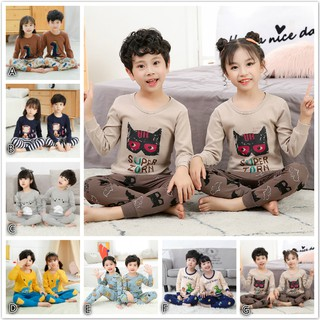 Bộ Đồ Ngủ 2 Món Vải Cotton Tay Dài Cổ Tròn In Hoạt Hình Kiểu Hàn Quốc Dễ Thương Cho Bé