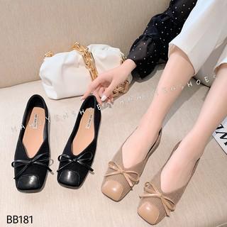 Bệt nữ HHS vải mũi vuông vá da nơ dây Hà Huyền Shoes - BB181
