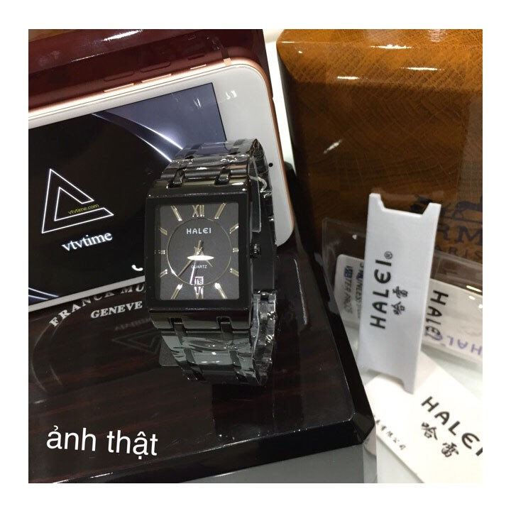 đồng hồ nam đẹp halei HLV08 mặt vuông full đen chống nước chống xước,tặng kèm vòng tì hưu