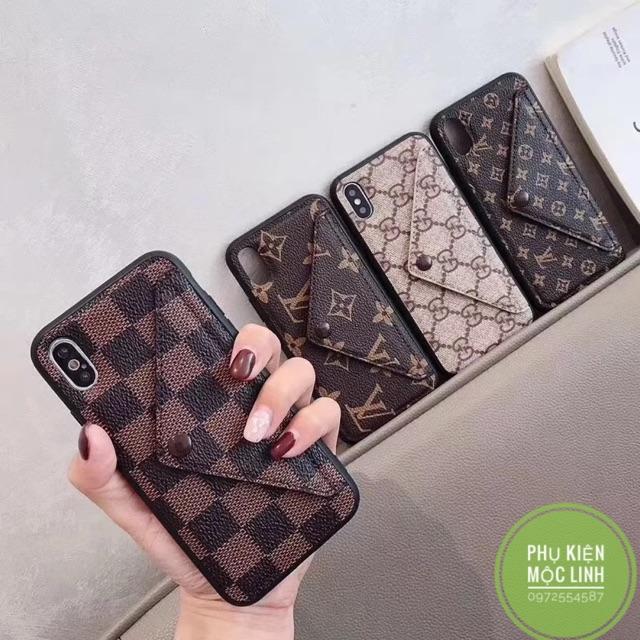 Ốp lv gc cài thẻ và tiền kiêm chân chống iphone xs max xr xs x 8plus 7plus 8 7 6plus 6splus 6 ví