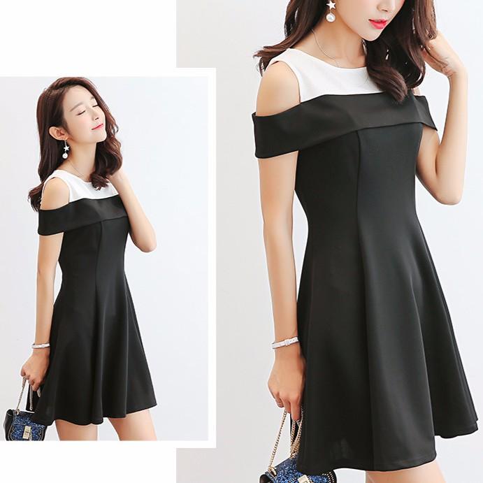 Đầm body trễ vai màu đen dự tiệc GFHxc576| Đầm trễ vai babydoll dáng suông dạo phố Hàn Quốc