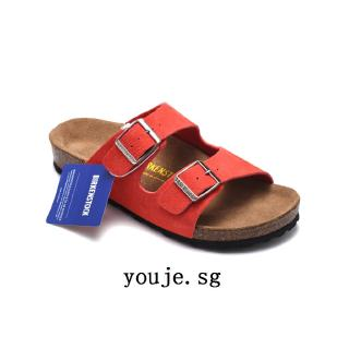 youje.sg Birkenstock slipper two buckle sued watermelon red Color man woman beach summer slippers sandals 34-46 casual shoes